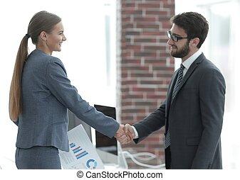 välkommen, handslag, finansiell, partnern
