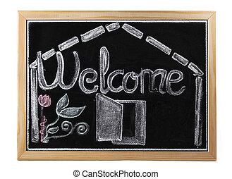 välkommen, in, blackboard, över, vit, isolerat, bakgrund