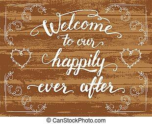 välkommen, lyckligt, efter, underteckna, bröllop, vår, ...