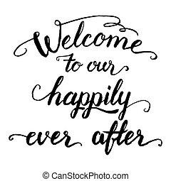 välkommen, lyckligt, efter, vår, kalligrafi, någonsin