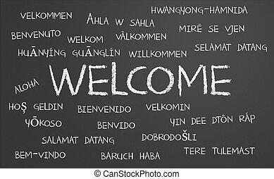 välkommen, ord, moln