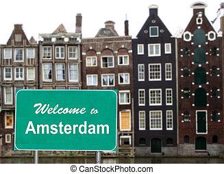 välkommen, till, amsterdam, underteckna, in, vatten