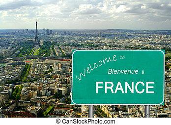 välkommen, till, frankrike, underteckna, med, eiffel torn