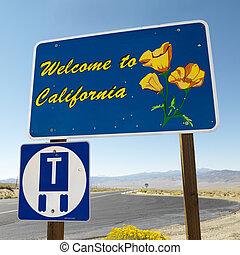 välkommen, till, kalifornien, skylt.