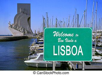 välkommen, till, lissabon, underteckna