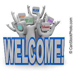 välkomna, folk, välkommen, -, språk, gäster, internationell