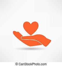 vänlighet, räcker, heart., ikon, välgörenhet