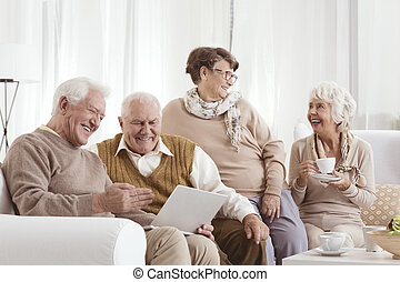 vänner, äldre, avkopplande
