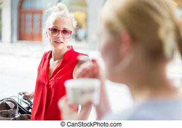 vänner, avnjut, conversation., kvinnlig