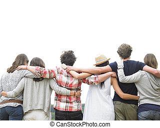 vänner, grupp, baksida, krama, synhåll
