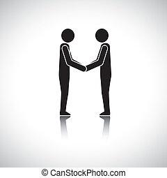 vänner, hälsning, hand, svart, affärsmän, skaka, ledare, vit, gemensam, eller