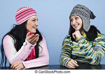 vänner, ha, två, konversation