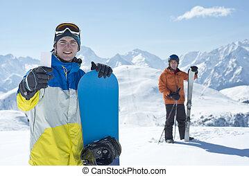 vänner, hiss, sport, vinter, passera