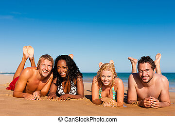 vänner, på, strand semester