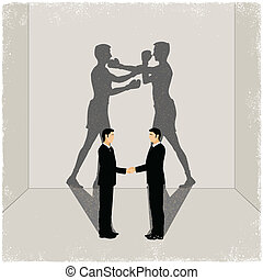 vänner, skugga, casting, enemity