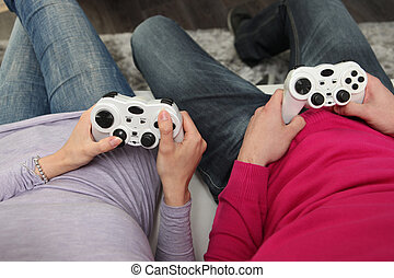 vänner, spelande video vilt