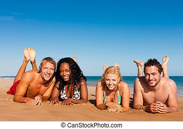 vänner, strand semester