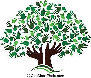 vänskap, anslutning, träd, image.