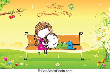 vänskap, dag, lycklig