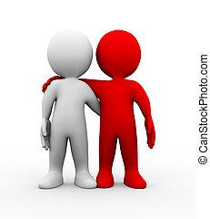 vänskap, folk, partnern, 3