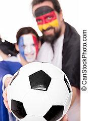vänskap, frankrike, och, tyskland, fotboll, framtill, söt, par, bak