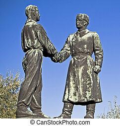 vänskap, in, den, kommunism