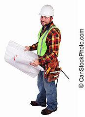vänskapsmatch, anläggningsarbetare, med, blåkopior