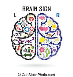 vänster, kreativitet, affär, kunskap, hjärna, ikon, ...