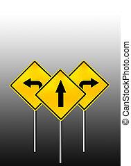 vänster, rak, höger vänd, undertecknar
