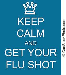 vänta, stillhet, och, få, din, influensa fotograferade