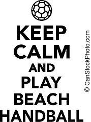 vänta, stillhet, och, lek, strand, handboll