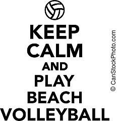 vänta, stillhet, och, lek, strand volleyboll
