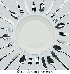 väntan, för, middag