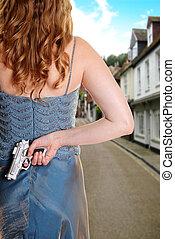 väntan, kvinna, gata, gevär