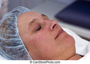 väntan, kvinna, operation