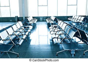 väntan rum, in, den, flygplats