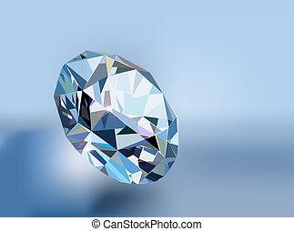 värdefull, blå diamant, bakgrund, stickande