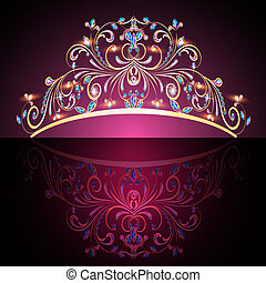 värdefull, guld, tiara, womens, stenar, krona