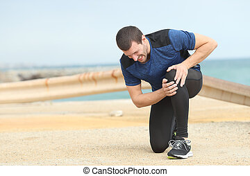 värk, lidande, knä, klagande, sport, efter, gångmatta