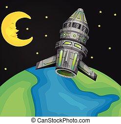 värld, över, flygning, rymdskepp