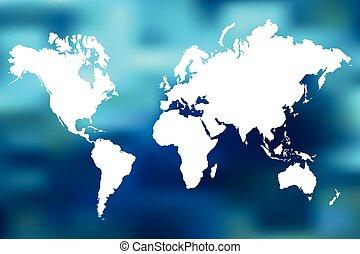 värld, abstrakt, illustration, karta