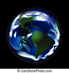 värld, abstrakt, klot, karta