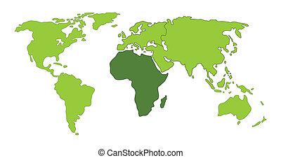 värld, afrika, karta