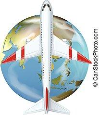 värld, airplane, flyga slut