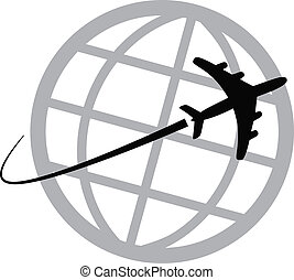 värld, airplane, omkring, ikon