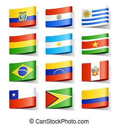 värld, america., flags., syd