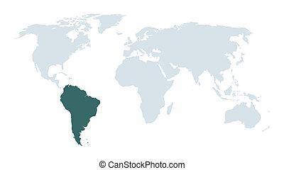 värld, amerika, syd, karta