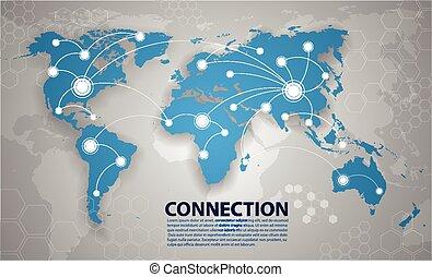 värld, anslutning, vektor, karta