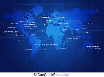 värld, avia, förrättning resen