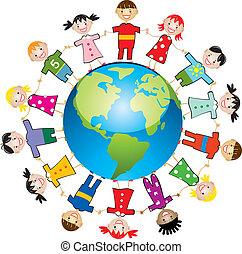 värld, barn, omkring